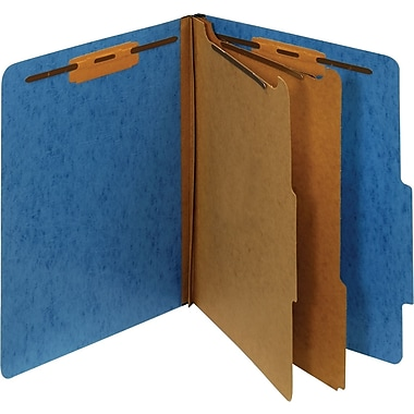 Staples® Moisture-Resistant Classification Folders, Letter, 2 Partitions, Blue, 10/Pack