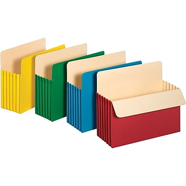Staples Colored Expanding File Pockets, 5 1/4in. Expansion, Letter, Assorted, 5/Pack