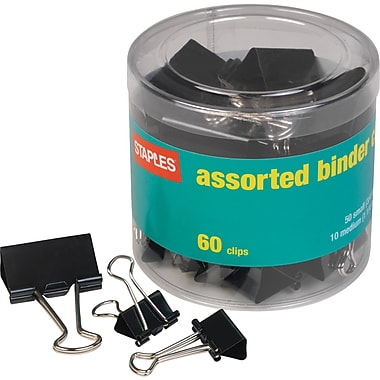 Staples Metal Binder Clips, Black, Assorted Capacities