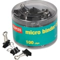 Staples Mini Metal Binder Clips, Black, 3/5in. Size with 1/4in. Capacity