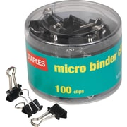 Staples® Micro Metal Binder Clips, Black, 1/2 Size with 1/8 Capacity
