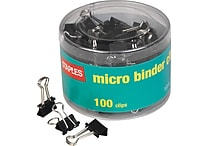 Staples® Micro Metal Binder Clips, Black, 1/2' Size with 1/8' Capacity