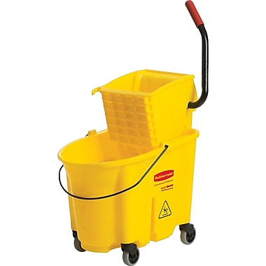 Rubbermaid WaveBrake Bucket/Side-Press Wringer, Yellow, 35 qt.