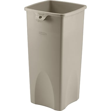Rubbermaid Untouchable Plastic Waste Receptacle, Beige, 23 gal.