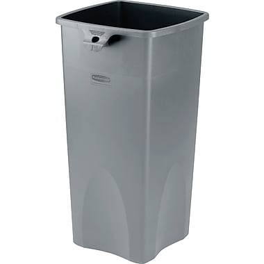 Rubbermaid Untouchable Plastic Waste Receptacle, Gray, 23 gal.