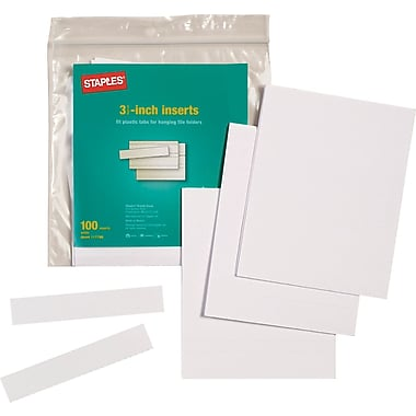 Staples® Tab Inserts, 3 Tab, 3-1/2in. Long