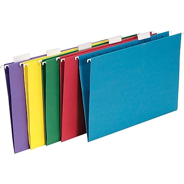 Staples® Colored Hanging File Folders, 5-Tab Legal, Assorted, 25/Box (345001)