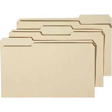 Staples 100% Recycled Manila File Folders, Legal, 3 Tab, 100/Box
