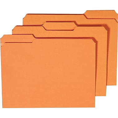 Staples® Colored File Folders w/ Reinforced Tabs, Letter, 3 Tab, Orange, 100/Box