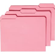 Staples Colored File Folders with Reinforced Tabs, 3-Tab, Letter Size, Pink, 100/Box (508952)
