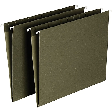 Staples® Hanging File Folders, 5-Tab Letter, Standard Green, 25/Box (521229)