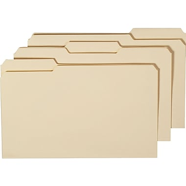 Staples Manila File Folders w/ Reinforced Tabs, 3 Tab, Legal, 100/Box