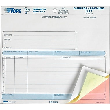 Tops Snap-Off® Shipper/Packing List Forms, 8-1/2in. x 7in., 3 Part