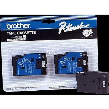 Brother 2pk 3/8in. White on Black tape