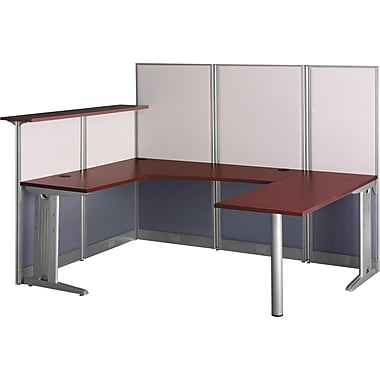 Bush Office in an Hour U Workstation with Panels, Hansen Cherry