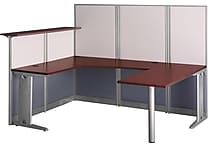 Bush Office in an Hour U Workstation with Panels, Hansen Cherry, Fully Assembled