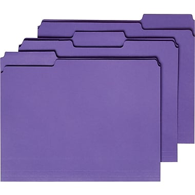 Staples® Colored File Folders w/ Reinforced Tabs, Letter, 3 Tab, Purple, 100/Box