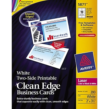 Avery Clean Edge Two-Side Printable Laser Business Cards, White, 200/Cards