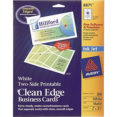 Avery Clean Edge 2-Side Printable Inkjet Business Cards, White, 2in. x 3 1/2in.,200/Pack