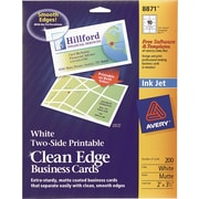 Avery® Clean Edge 2-Side Printable Inkjet Business Cards, White, 2 x 3 1/2,200/Pack