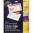 "Avery® Clean Edge Inkjet Business Cards, Ivory, 2"" x 3 1/2"""