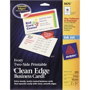 Avery® Clean Edge Inkjet Business Cards, Ivory, 2 x 3 1/2