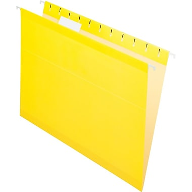 Pendaflex 5 Tab Hanging File Folders,  Letter, Yellow, 25/Box