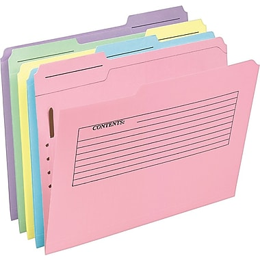 Pendaflex® Pre-Printed Fastener Folders, Letter Size, 3 Tab, Assorted Colors, 30/Pack (45270)