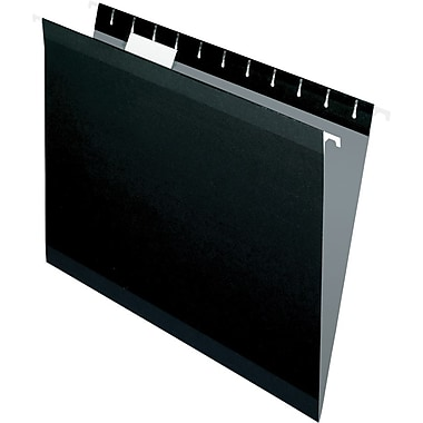 Pendaflex® Reinforced Hanging File Folders, 5 Tab Positions, Letter Size, Black, 25/Box (4152 1/5 BLA)
