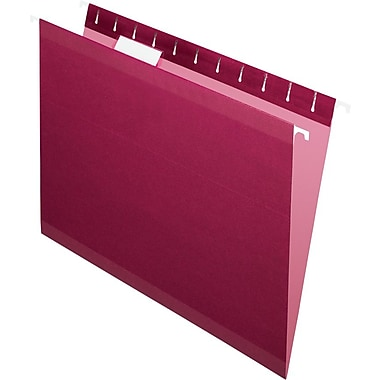 Pendaflex 5 Tab Hanging File Folders, Letter, Burgundy, 25/Box