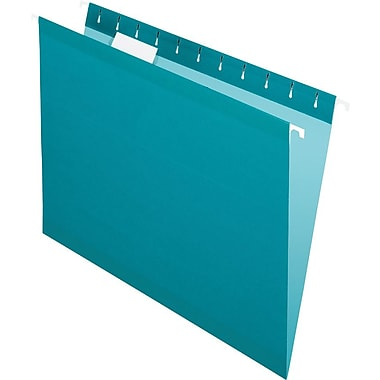 Pendaflex 5 Tab Hanging File Folders, Letter, Teal, 25/Box