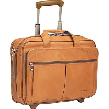 SOLO® Full-Grain Leather Rolling Laptop Case, Tan, 15.6in.