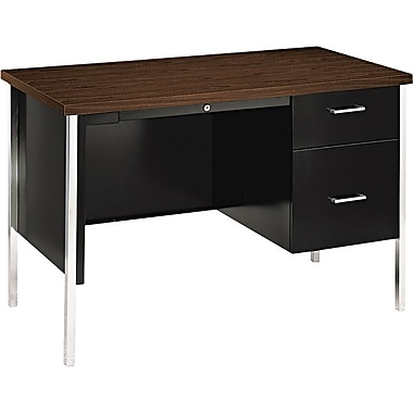 HON® 34000 Series Single Pedestal Desk, Walnut/ Black