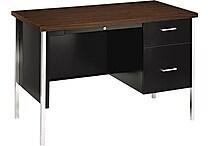 HON® 34000 Series Single Pedestal Desk, Walnut/ Black