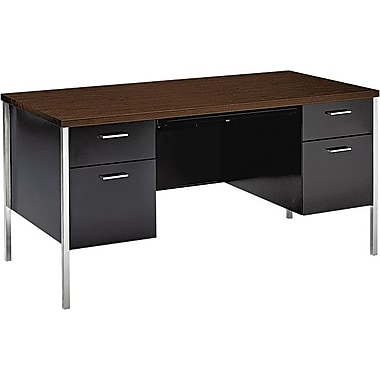 HON 34000 Series Double Pedestal Desk, Walnut/Black
