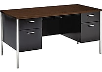 HON® 34000 Series Double Pedestal Desk, Walnut/Black