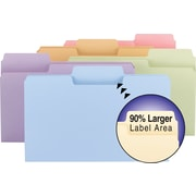 Smead® SuperTab® Colored File Folders, Legal, 3 Tab, Assorted, 100/Box