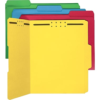 Smead Colored Fastener Folders, Letter, Assorted, 50/Box