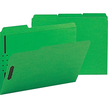 Staples® Colored Reinforced Tab Fastener Folders, Letter, Green, 50/Box