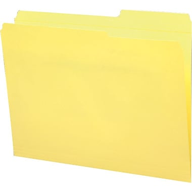 Staples® Guide-Height Colored Reinforced File Folders, Letter, Yellow, 100/Box