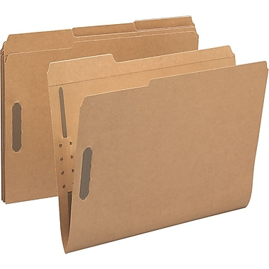 Smead® Reinforced Kraft Fastener Folders, Letter, 3 Tab, Positions 1 & 3, 50/Box