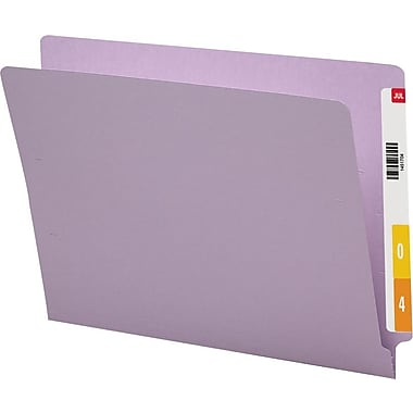 Smead® Colored Reinforced  End-Tab File Folders, Letter, Lavender, 100/Box