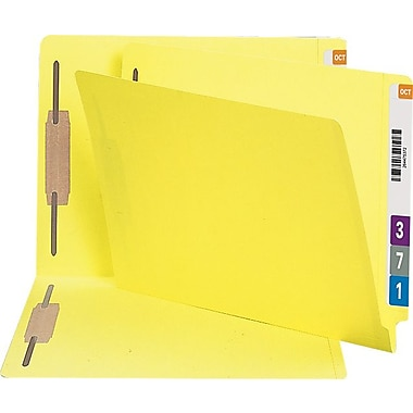 Smead Reinforced End-Tab Fastener Folders, Letter, Yellow, 50/Box