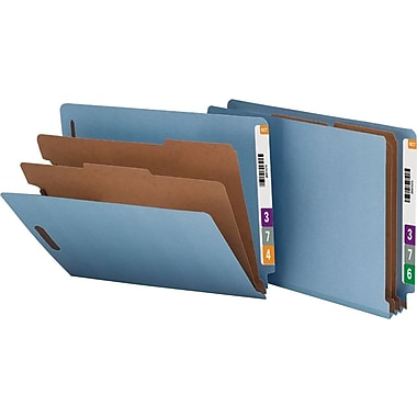 Smead® Pressboard End-Tab Classification Folders, Letter, 2 Partitions, Blue, 10/Box