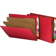 Smead® Pressboard End-Tab Classification Folders, Letter, 2 Partitions, Bright Red, 10/Box