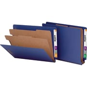Smead® Pressboard End-Tab Classification Folders, Letter, 2 Partitions, Dark Blue, 10/Box