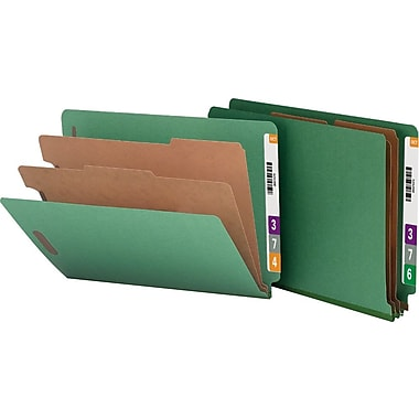 Smead® Pressboard End-Tab Classification Folders, Letter, 2 Partitions, Green, 10/Box