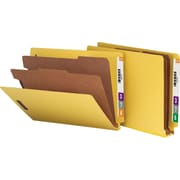 Smead® Pressboard End-Tab Classification Folders, Letter, 2 Partitions, Yellow, 10/Box