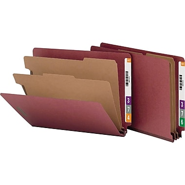 Smead Pressboard End-Tab Classification Folders, Letter, 2 Partitions, Russet Red, 10/Box