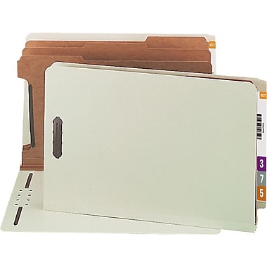 Smead® Pressboard End-Tab Classification Folders, Legal, 3 Partitions, Gray/Green, 10/Box